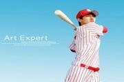 棒球运动员挥棒创意海报