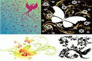 4款鸟蝴蝶花纹矢量素材