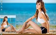 海边沙滩美女曹...