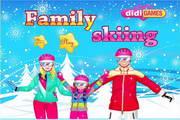 滑雪的一家人