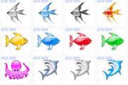 水晶亮丽海洋鱼类图标