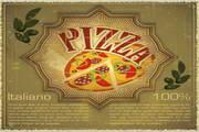 矢量复古pizza背景