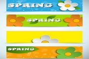 春季卡通横幅模板矢量设计