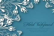 蓝色花纹卡片矢量设计素材