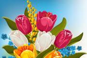 春季花卉卡片矢量素材