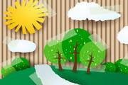卡通自然风景贴纸矢量