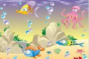 炫彩海底生物矢量素材