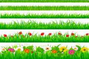 复活节鲜花草地主题矢量素材
