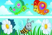 卡通昆虫横幅矢量素材