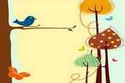 矢量缤纷小鸟素材