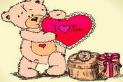 卡通爱心小熊矢量图