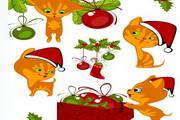 卡通圣诞小猫咪矢量图