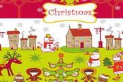 圣诞节卡通人物背景矢量图