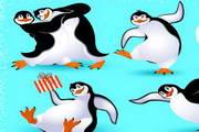 卡通企鹅场景矢量图
