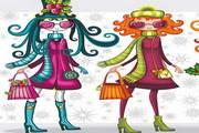 卡通女孩服饰打扮矢量图