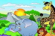 卡通丛林动物场景矢量图