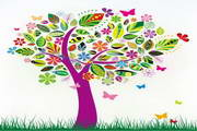 春季创意树矢量设计素材