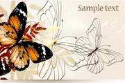 蝴蝶花纹横幅模板矢量设计