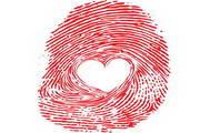 红色心形指纹矢量素材