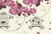 浪漫玫瑰装饰背景矢量图