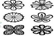 单色手绘花纹矢量素材