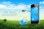 创意手机春天广告PSD设计