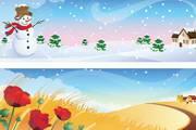 四季花纹吊旗矢量素材