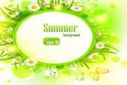 夏季花卉背景矢量素材