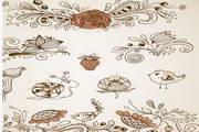 手绘花纹矢量设计素材