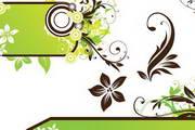 绿色植物花纹背景矢量图