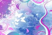 紫色蝴蝶飞舞素材