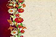 鲜花装饰皮纹背景矢量图