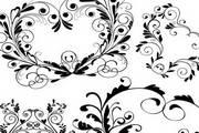 黑色复古花纹矢量图