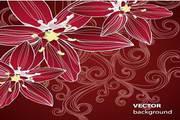 绚丽花卉花纹背景矢量图