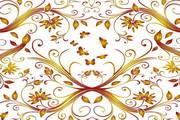 蝴蝶与花纹背景矢量图