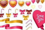 情人节丝带,标贴,礼盒,红心矢量图