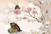 复古花卉蝴蝶矢量免费素材