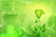 绿色植物花纹矢量图