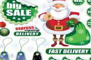 精美圣诞绿色折扣标签矢量图