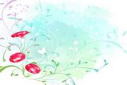淡彩花卉矢量素材