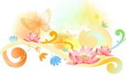 蝴蝶花纹背景矢量图