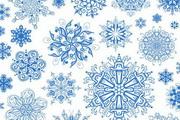蓝色传统雪花纹样矢量图素材大全