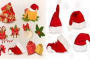 圣诞帽装饰物圣诞元素矢量素材大全