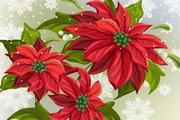 用丝带绑好的圣诞写实鲜花矢量素材