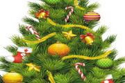 挂满彩球铃铛和圣诞袜的圣诞树矢量图