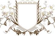 欧式盾牌花纹矢量图
