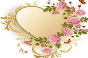 玫瑰花蝴蝶心形花纹矢量图