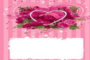 4款心形玫瑰花花纹矢量图