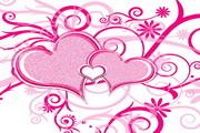 粉红心形花纹矢量图