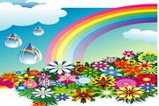 彩虹花纹矢量图